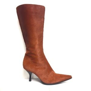 SERGIO ROSSI Pointy Pony Hair Boots Heel Brown 5.5